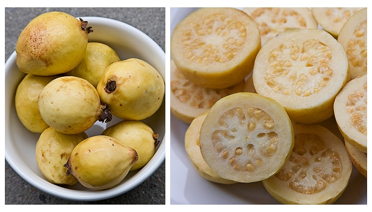 Mexican guavas. Get the recipe for guayabas en almíbar on theothersideofthetortilla.com.