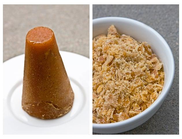 Piloncillo cone chopped for making guayabas en almíbar. Get the recipe on theothersideofthetortilla.com.