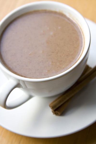 How to make Mexican champurrado from scratch with fresh masa from a tortillería. Recipe via theothersideofthetortilla.com.