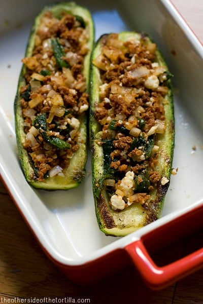 Calabacitas rellenas: Grilled Mexican green squash, stuffed with chilaca chiles, chorizo and queso fresco. Get the recipe from theothersideofthetortilla.com.
