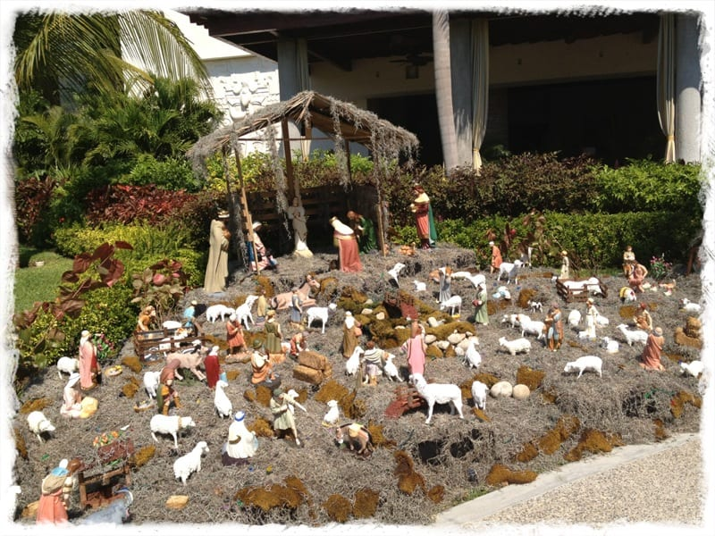 Mexican nativity scene outdoors