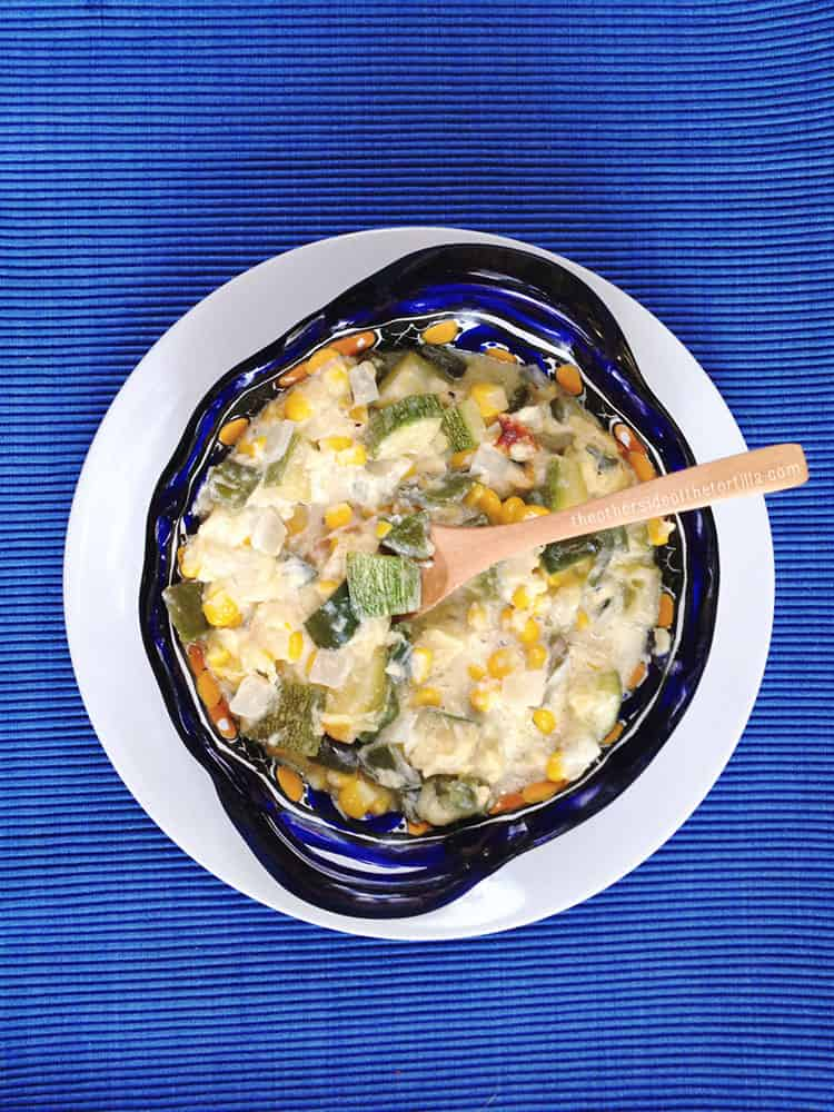 Calabacitas con elote is a traditional Mexican side dish, typically baked in the oven in a casserole dish or olla de barro. Give the dish a makeover by cooking it in easy-to-make foil packets for the grill.  Recipe via theothersideofthetortilla.com