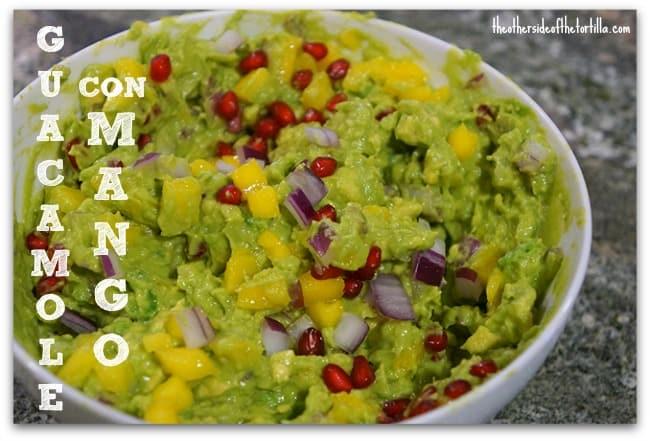 guacamole with mango and pomegranate
