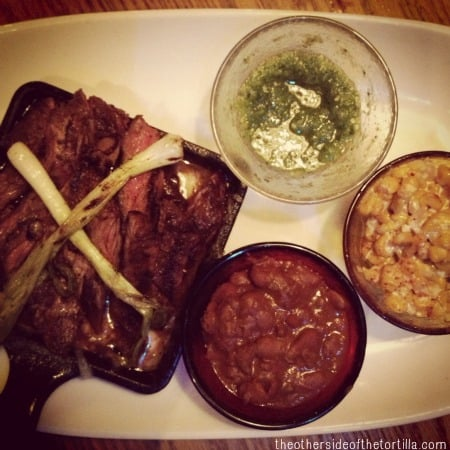 carne asada and esquites Rosa Mexicano