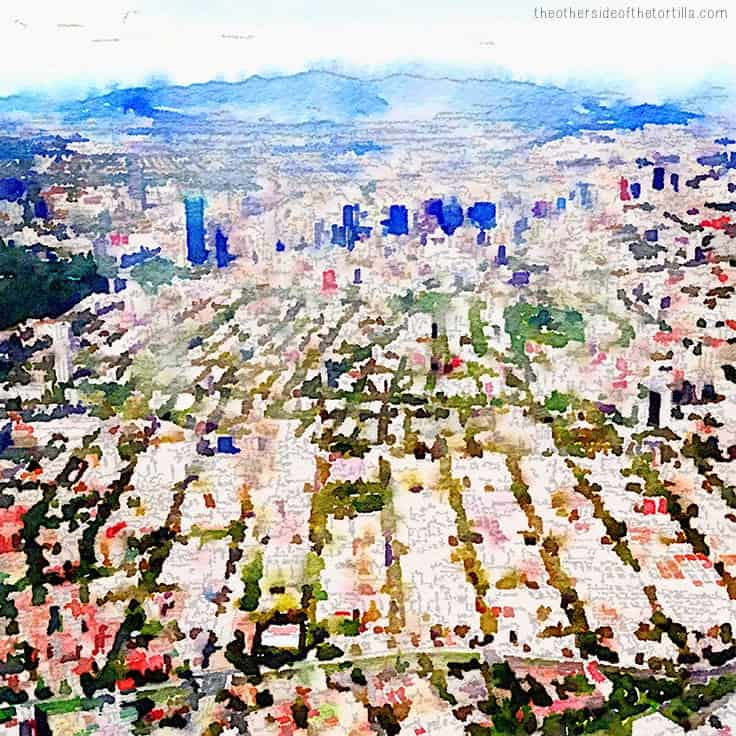 An aerial view of Mexico City, approaching Paseo de la Reforma | More watercolor images of Mexico City on theothersideofthetortilla.com