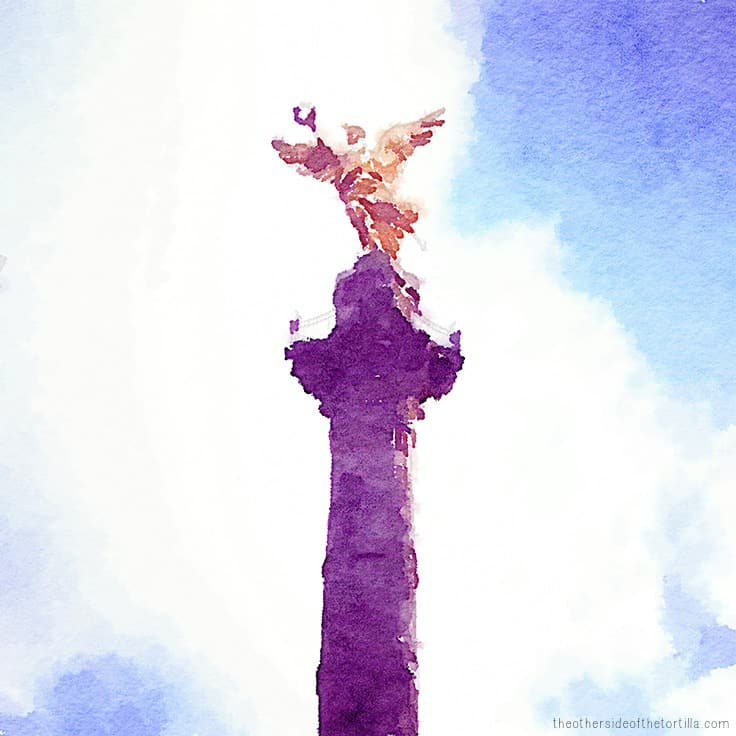 El Ángel de la Independencia | More watercolor images of Mexico City on theothersideofthetortilla.com