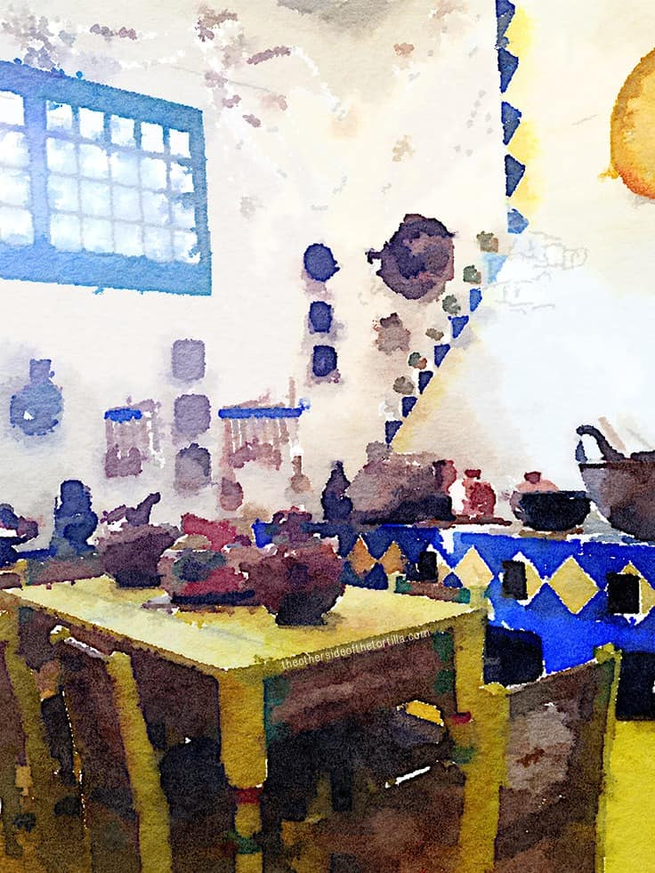 Frida Kahlo's kitchen at Casa Azul, Museo Frida Kahlo in Coyoacán, Mexico City | More watercolor images of Mexico City on theothersideofthetortilla.com