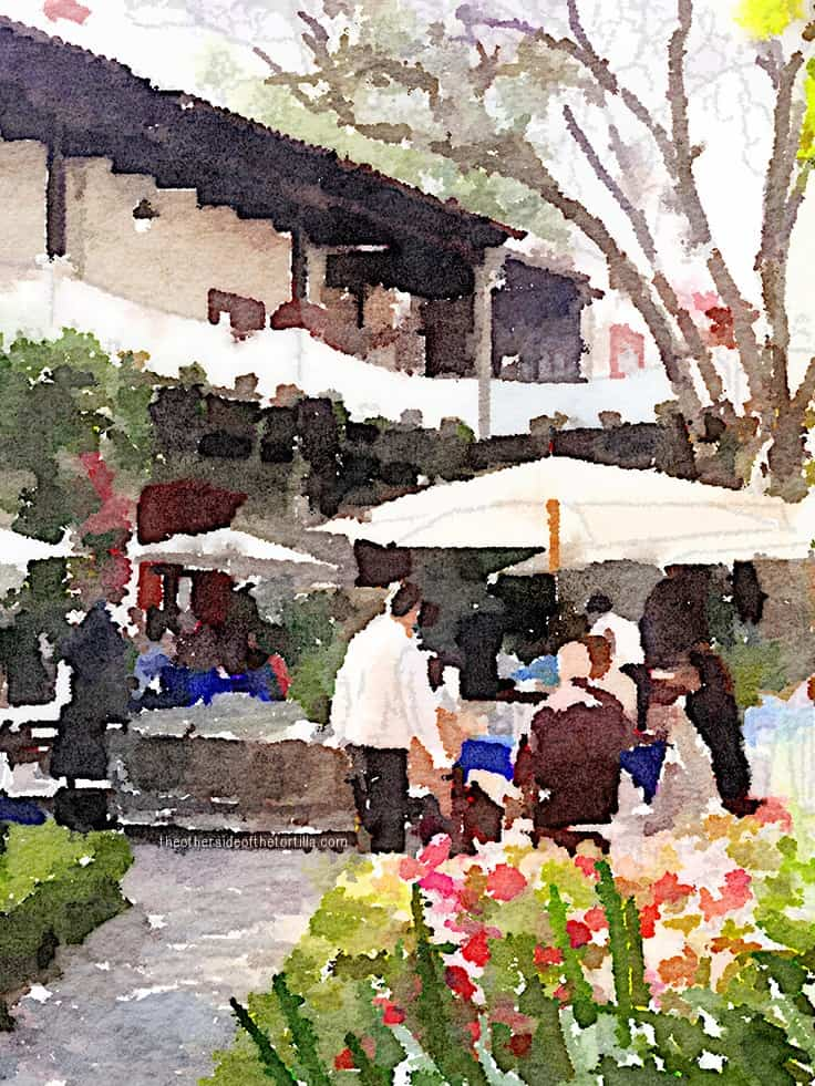The historic San Ángel Inn restaurant in San Ángel, Mexico City | More watercolor images of Mexico City on theothersideofthetortilla.com