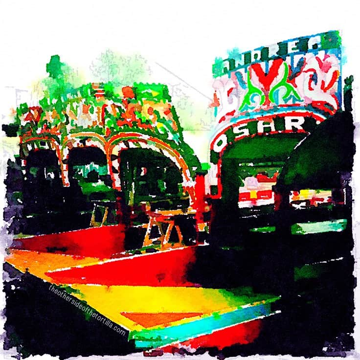 Trajineras at Xochimilco, Mexico City's floating water gardens | More watercolor images of Mexico City on theothersideofthetortilla.com