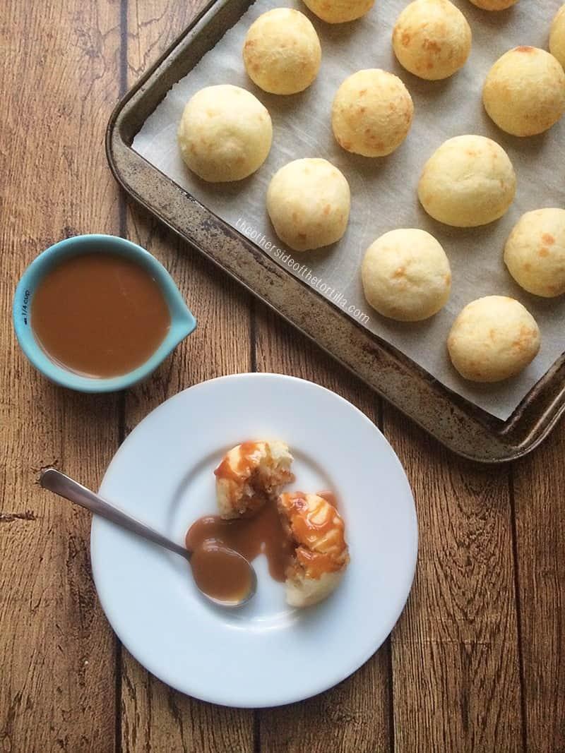 Brazilian cheese bread recipe (pão de queijo) using Mexican cotija cheese | Get the recipe at theothersideofthetortilla.com