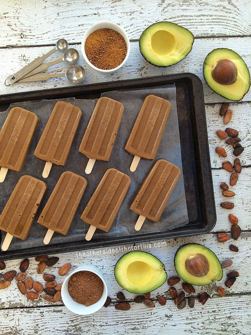 Vegan avocado and cacao popsicles
