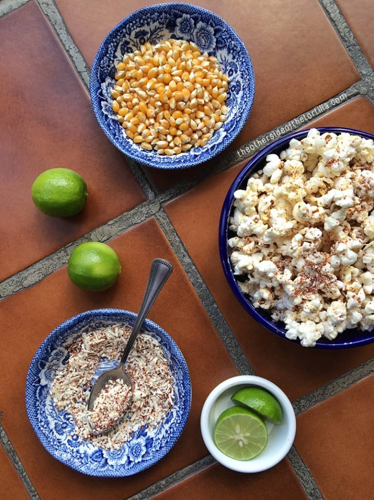 Ingredients to make Mexican-style cotija and chile-spiced popcorn