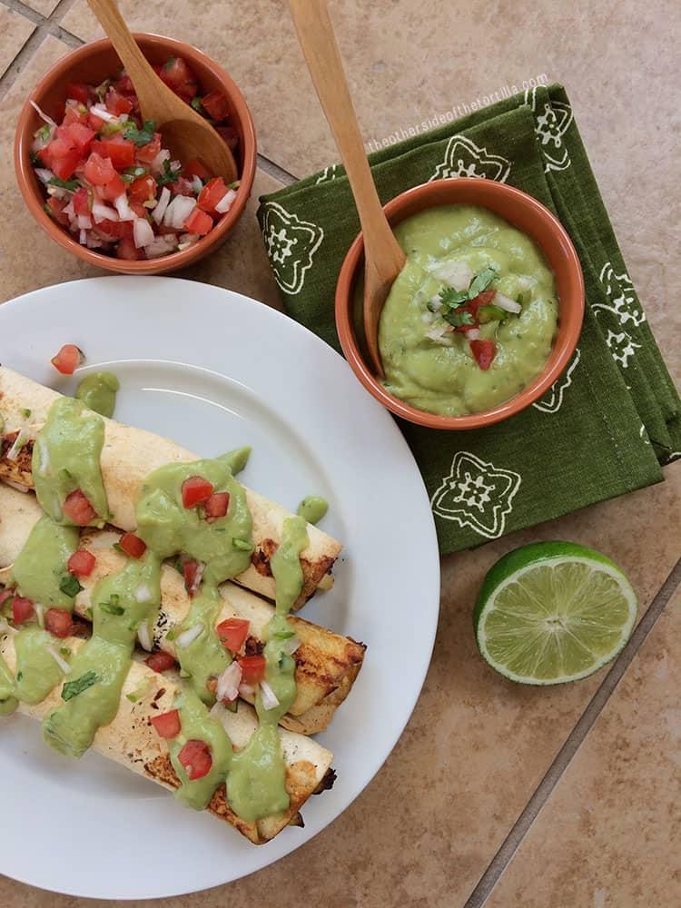 Make baked taquitos or flautas instead of fried! Recipe via theothersideofthetortilla.com
