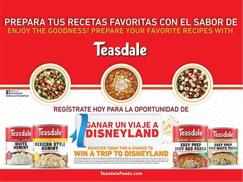 Teasdale Disneyland Sweepstakes, September 28-November 9, 2015