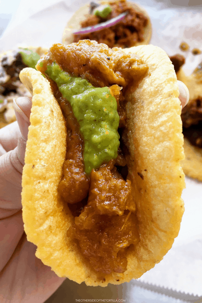 Taco de chicharron at Guisados in Los Angeles, California