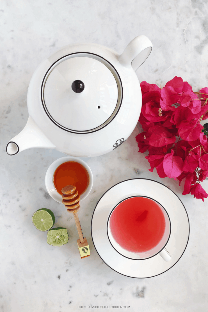 How to make Mexican té de bugambilia (bougainvillea tea), via theothersideofthetortilla.com