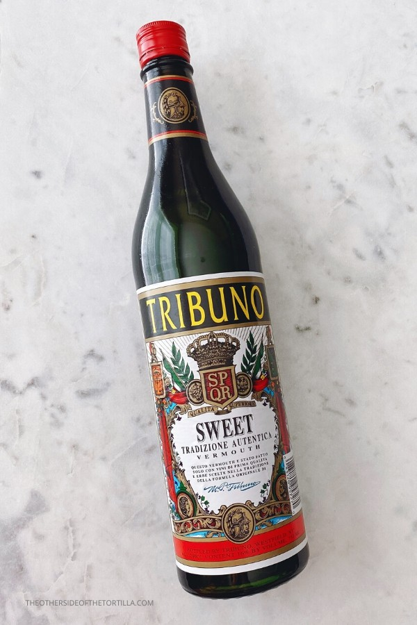 Bottle of Tribuno brand sweet vermouth