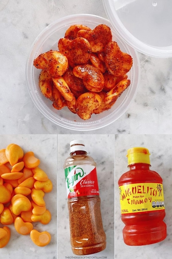 collage of spicy mango gummies inside a plastic round container on top of a white marble surface, with images of mango gummies, Tajín and miguelito chamoy as the ingredients below