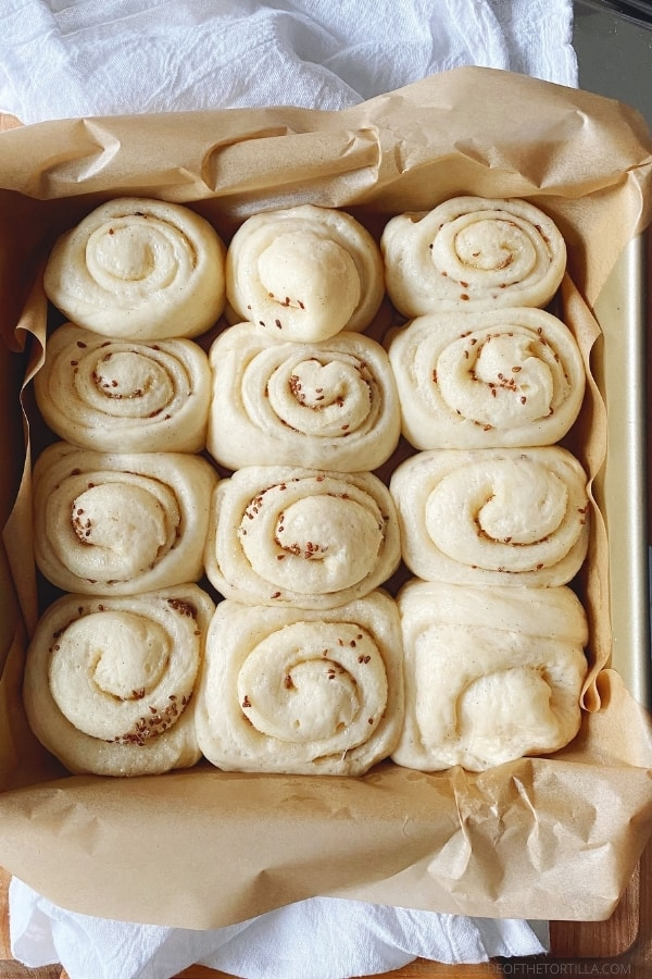 Unbaked anise rolls in a square baking pan