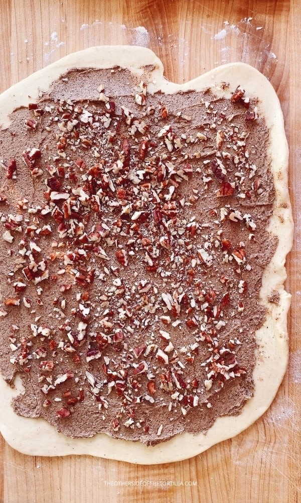 Cinnamon roll dough spread with cinnamon sugar butter filling and sprinkled with chopped pecans