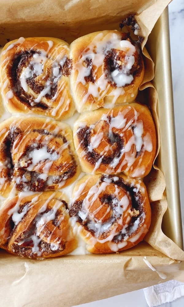 mexican cinnamon rolls drizzled with icing