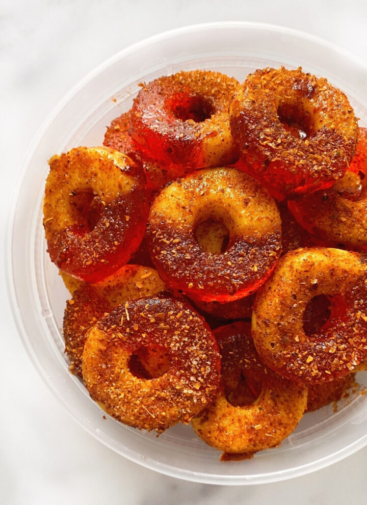 gummy peach rings with chamoy
