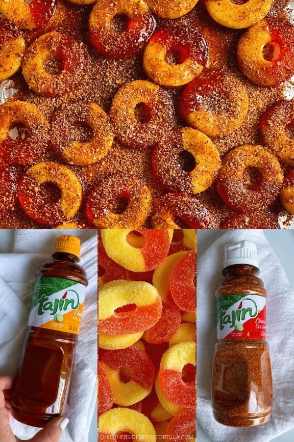 Clockwise from top: peach ring gummies covered in chamoy and Tajín; a bottle of Tajín; plain peach gummies; a bottle of Tajín brand liquid chamoy