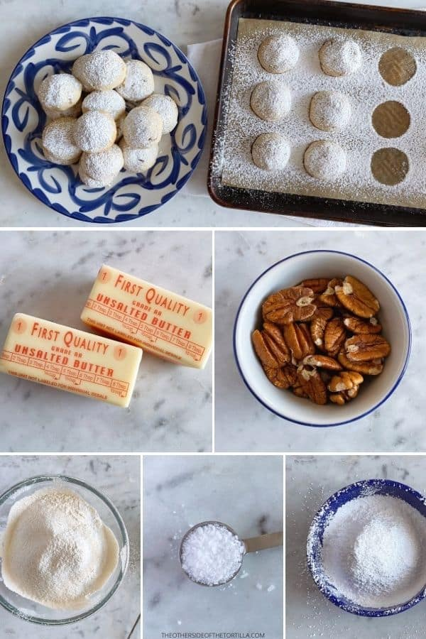 Ingredients to make Mexican wedding cookies from top: finished cookies, butter, pecans, flour, salt, powdered sugar